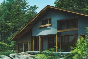 三角屋根が特徴の森に佇む別荘